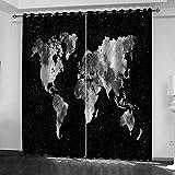 LWXBJX Opacas Cortinas Dormitorio - Mapa del Mundo en Blanco y Negro - Impresión 3D Aislantes de Frío y Calor 90% Opacas Cortinas - 280 x 260 cm - Salon Cocina Habitacion Niño Moderna Decorativa