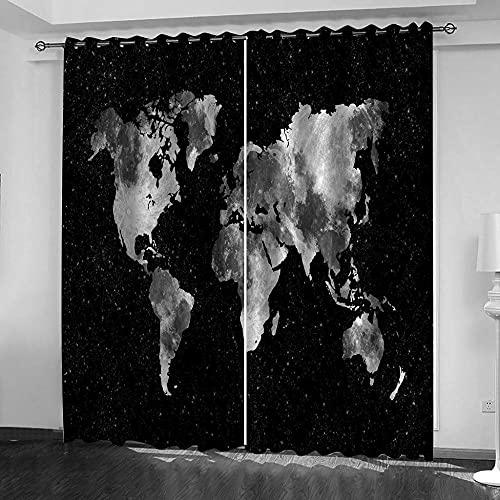 LucaSng Retrò Tende Oscuranti con Anelli Mappa Del Mondo tenda camera da letto moderna ragazza 3D motivo tenda oscurante camera da letto bambini 2 pannelli 140x245 cm