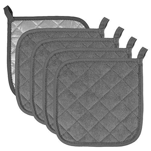 Pot Holders Cotton Made Machine Washable Heat Resistant Potholder, Pot Holder, Hot Pads, Trivet for Cooking and Baking (5, Dark Grey)