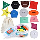 Demilong Bean Bags for Toddlers,12 Pack Educational Toys for Kids to Learn Shapes and Colors, Preschool Learning Montessori Activity, Fun for Travel or Tossing Game for Boys and Girls with Cotton Bag