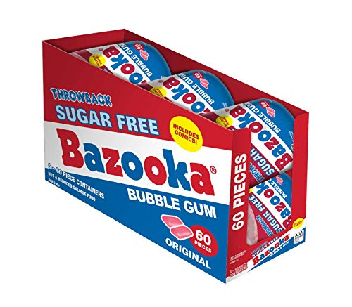 Bazooka Bubble Gum, Sugar Free Original, 60Count To Go Cup (Pack Of 6)