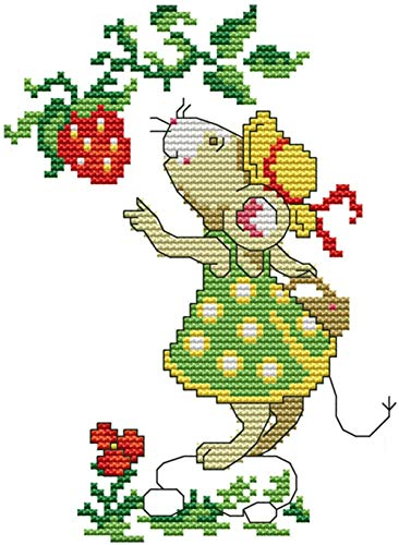eGoodn Cross Stitch Stamped Kit with Printed Pattern Mice and Strawberry, 11ct Aida Fabric 8 inches by 10 inches, Embroidery Cross-Stitching Needlework for Kids Adults, No Frame