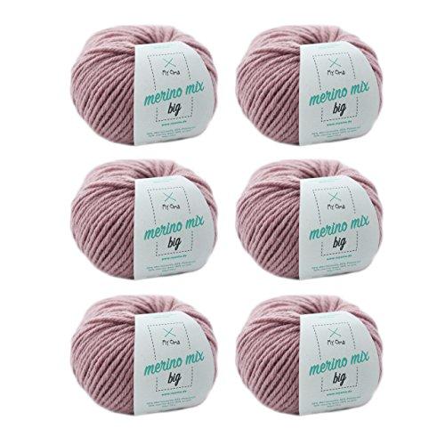 MyOma Wolle Stricken * Merino Wolle Puder (Fb 3731) * 6 Knäuel rosa Merinowolle zum Stricken - Dicke Wolle + GRATIS Label - 50g/75m - Nadelstärke 6-7mm Wolle - weiche Wolle - Merino Garn