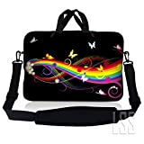 LSS 13.3 inch Laptop Sleeve Bag Compatible with Acer, Asus, Dell, HP, Sony, MacBook and more | Carrying Case Pouch w/ Handle & Adjustable Shoulder Strap, Rainbow Butterfly