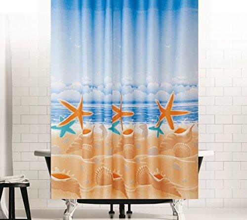 TEXTIL DUSCHVORHANG SANDSTRAND BLAU BRAUN SEESTERNE 120x200 cm INKL. DUSCHVORHANGRINGE! SHOWER CURTAIN BLUE BROWN