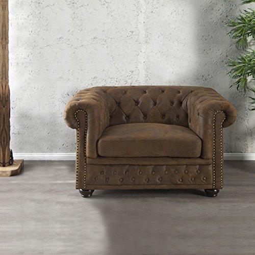 CAGÜ - EDLER DESIGNKLASSIKER Sessel [Winchester] BRAUN aus Kunstleder im KLASSISCH ENGLISCHEN Chesterfield-Stil, NEU!