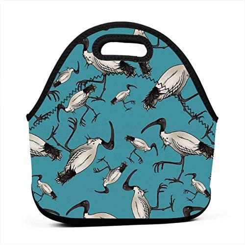 Lunch Bag Weiß Ibis Bin Hühner Arbeit Picknick Geburtstag Grill Gedruckt Unisex Wiederverwendbare Schule Mode Lunch Box Buntes Geschenk Anime Gourmet Tote Lunch Bag