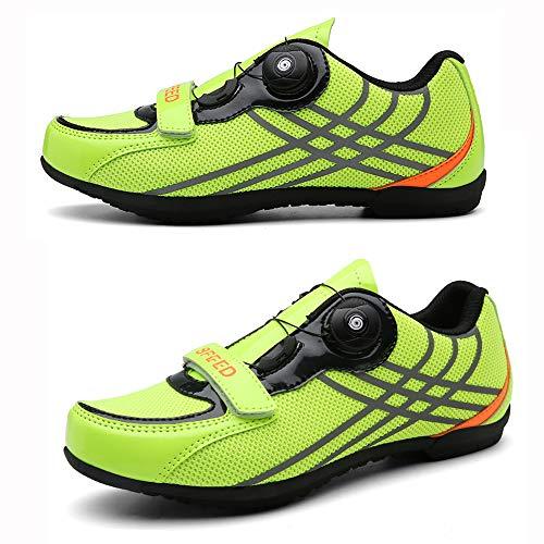 LU-Model Fahrradschuhe Herren Damen Anti-Skid Atmungsaktiv Radschuhe Rennradschuhe MTB Schuhe Flat Ohne Klicksystem Yellow-41