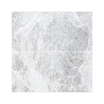 Dulzu Peel and Stick Floor Tile Removable Peel and Self-Adhesive Kitchen Wall Tile Sticker 8Pcs Wall Stickers for Kitchen Backsplash in Grey ,11.8x11.8