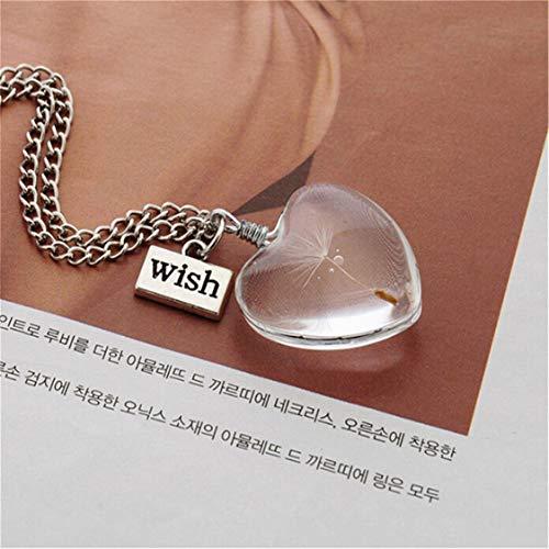 Idiytip Dandelion Jewelry Crystal Glass Ball Dandelion Seed Wish Necklace...
