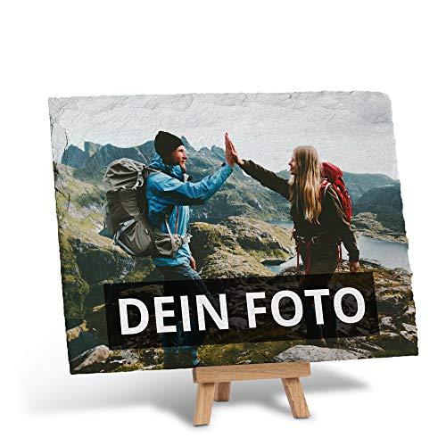 PhotoFancy – Schieferplatte mit Foto Bedrucken Lassen – Schiefertafel personalisiert – Schieferplatte mit deinem Foto und Staffelei zum Aufstellen...
