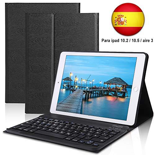 Funda con Teclado iPad 10.2 Español,Dingrich Funda Teclado (Incluye Ñ) para iPad 10.2 2019 7ª Generación/10.5 2017 / Air 3,Teclado Bluetooth Desmontable Auto Sleep/Wake Cubierta Magnétic