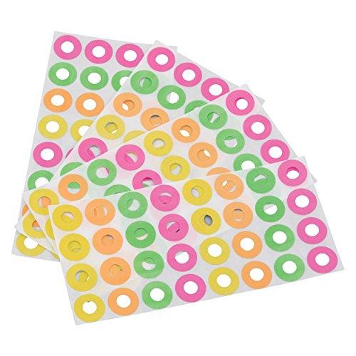 Advantus Self Adhesive Reinforcement Labels, 256 Labels, 4 Assorted Neon Colors (Z06010)