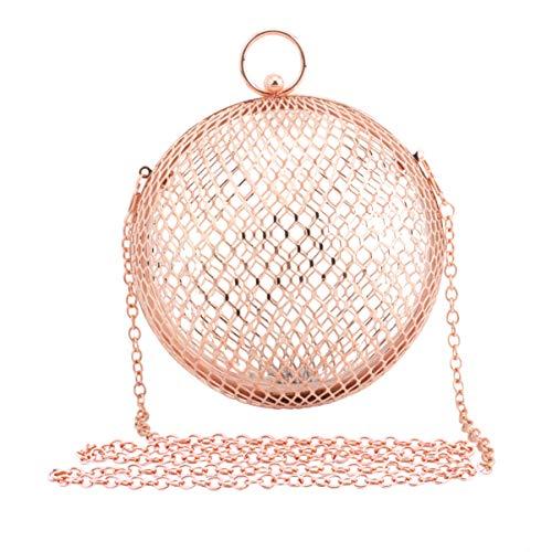 TENDYCOCO Bolso Bandolera de Cadena para Mujer Bolsa de Jaula Hueca Bolsa de Cadena de Embrague Redonda de Metal Diseño de Bola para Mujer Uso Diario de Banquete de Dama (Oro Rosa)