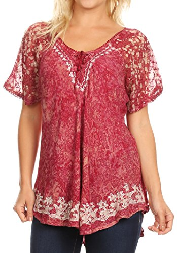 Sakkas 16482 - Ash Speckled Tiedye Embroidered Cap Sleeve Blouse Top With...