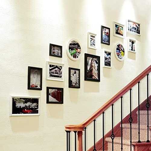 Pantalla de Fotos Colgando Pared de Foto de Madera Maciza compuesta/Marco de Fotos de pórtico Europeo Foto de Pared/Creativas combinación de Pared de Marco de Pared (Color : Black)
