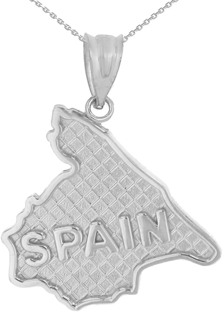 State Collection 925 Boston Mall Sterling Silver Pendant Spain Charm Map shop Nec