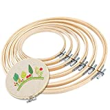 6 Pieces 3 Inch to 10 Inch Embroidery Hoops Bamboo Circle Cross Stitch Hoop Ring for Embroidery and Cross Stitch Hoop Ring Bulk Wholesale for Art Craft Handy Sewing