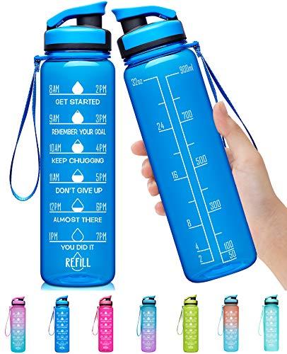 Elvira Botella de Agua Grande de 32 onzas con Marcador de Tiempo Motivacional y colador extraíble, Flujo rápido, Libre de BPA, no tóxica para Fitness, Gimnasio y Deportes al Aire Libre, a2-Azul