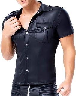 SWCEN - Camiseta de manga corta para hombre, de piel, látex, camisa, camisa de manga corta