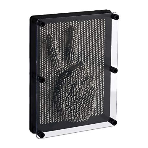 Relaxdays Pinart, Nagelbild für 3D-Abdrücke, H x B 20 x 15 cm, Pinpressions, Retrospiel Nagelbrett, u, Silber-schwarz, Standard