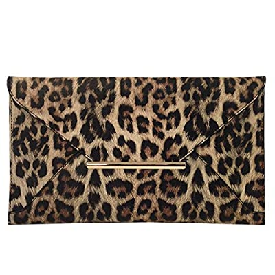 JNB Synthetic Leather Flat Envelope Leopard Print Clutch