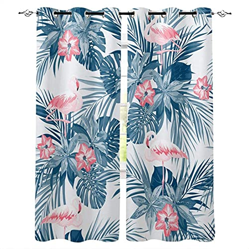LUOWAN Blackout Curtain for Kids Girls Microfiber - 104x63 inch - Pink flowers flamingo forest - Thermal Insulated 95% Blackout Kitchen Bedroom Living Room Window Eyelet Curtains