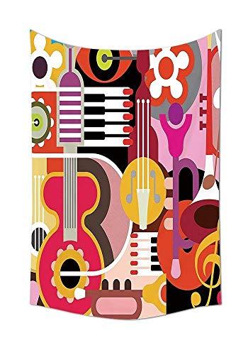 daawqee Music Collection Complex Graphic with Various Musical Properties Icons Keyboard Festival Piano Party Art Design Bedroom Living Room Dorm Multi Unique Home Decor