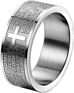 JewelryWe Gioielli Anello da Uomo Donna,Anello 8mm, Acciaio Inossidabile, Anello Banda Argento Inglese Bibbia Preghiera Si...