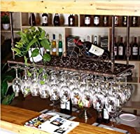 JYDQM ワインディスプレイラック、ワインディスプレイラック、ワインカップホルダーワインラッククリエイティブハンギングバーカウンターカップホルダーワインラック装飾取り付けが簡単収納,E,L100 * W35Cm