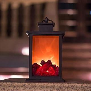 HEITIGN Lámpara de Llama de Fuego de Carbón de Simulación LED, Luz de Llama Intermitente Realista Con Efecto LED, Lámpara de Chimenea de Viento Retro de Moda, Decoración de Linterna Portátil