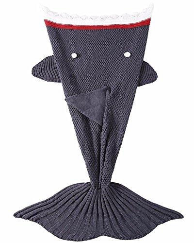 LAGHCAT Mermaid Tail Blanket Knit Crochet and Shark Blanket for Kids, Sleeping Bags Blankets(56 X 28 Inch, Dark Gray Shark)