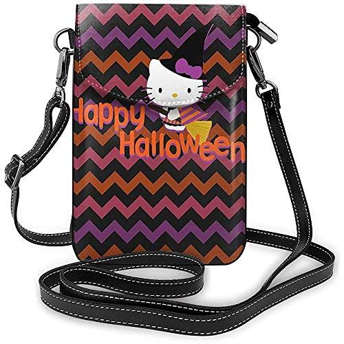 Ahdyr Bolsos cruzados para mujer-Happy Halloween Kitty Witch Cartera pequeña para teléfono celular con ranuras para tarjetas de crédito