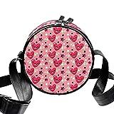 Eestars Pequeñas bolsas cruzadas para mujer redonda acolchada con bolsa de hombro de lona (Cartoon Cute Love Stars- Valentines Day Pink)
