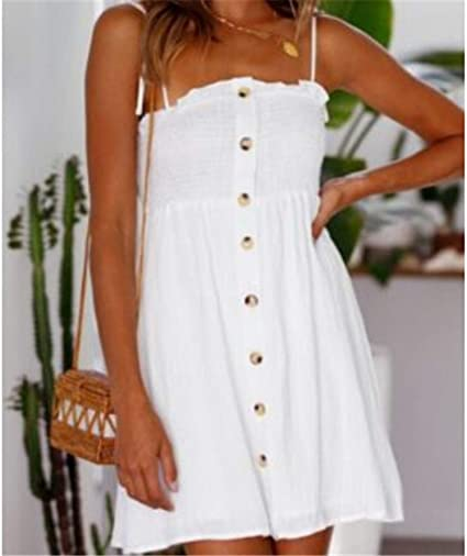 Kkmaomao Schlingenkleid Damen Tragerlosen Frauen Sommer Weisses Kurzes Kleid Abend Party Casual Strandkleid Mode Einfache Wilde Europa Und Amerika Bild S Amazon De Bekleidung