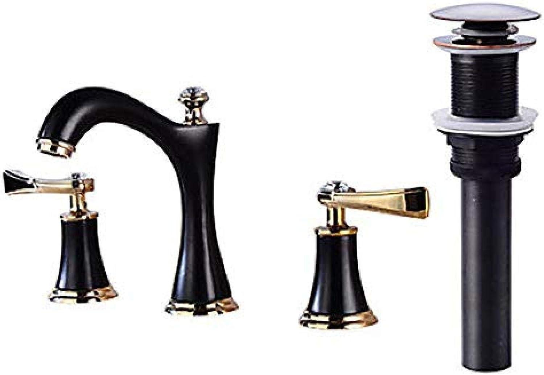 Wasserhahn-Extended Wasserhahn Set Bronze Friction Oil Zwei Griffe Drei Lcher Tap