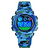 Boys Military Camo Digital Watch, Kids Colorful LED Outdoor Sports Waterproof Wristwatches with Alarm Clock Calendar Stopwatch for Kids Girls Ages Light Blue Camoflage