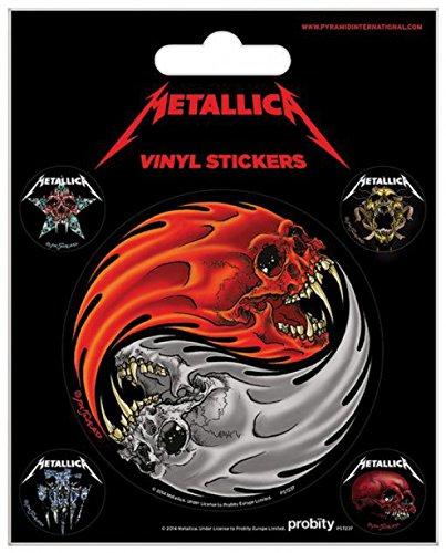 1art1 Metallica Poster-Sticker Autocollant - Yin Et Yang Crânes, Pushead (12 x 10 cm)