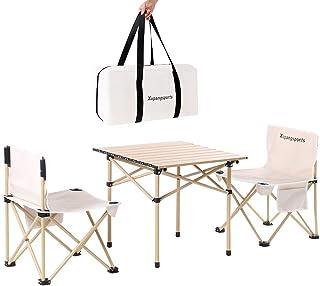 Xupang 折り畳み テーブル・チェアセット アウトドアテーブル アルミ合金 ベンチセット 椅子 背もたれ付き 軽量 組立簡単 持ち運び便利 ピクニック キャンプ用 収納バッグ付 3点セット