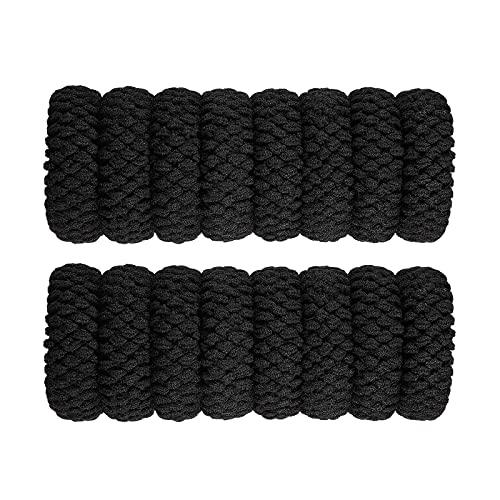 litulituhallo Corbatas de pelo de algodón grueso, sin costuras, sin arrugas, elásticos, color negro, 16 unidades