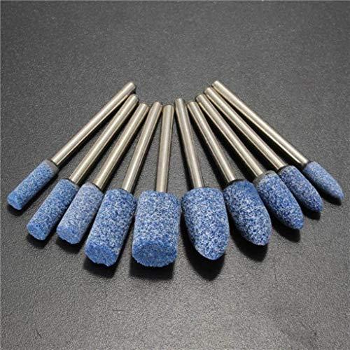 Yongse 10 stuks 1/8 inch Shank blauwe slijpsteen draaisteen voor dremel
