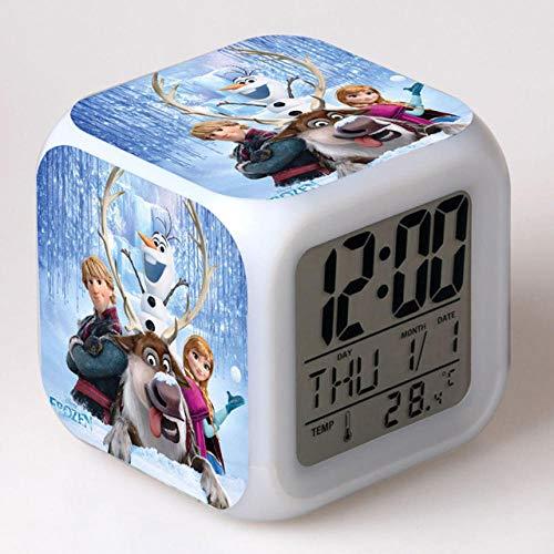 Réveil de dessin animé congelé 7 couleurs changeantes veilleuse LED réveil numérique étudiant brillant enfants horloge de bureau avec thermomètre adulte enfants cadeau - 33