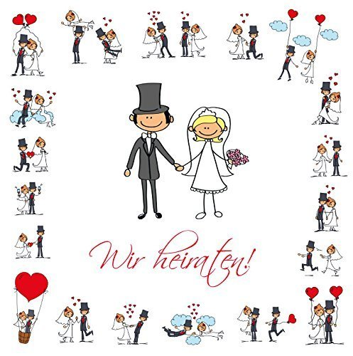 Lustige Einladungen zur Hochzeit, bestehend aus je 10 St. Hochzeitseinladungen + 10 passenden Briefumschlägen von EDITION COLIBRI - umweltfreundlich, da klimaneutral gedruckt
