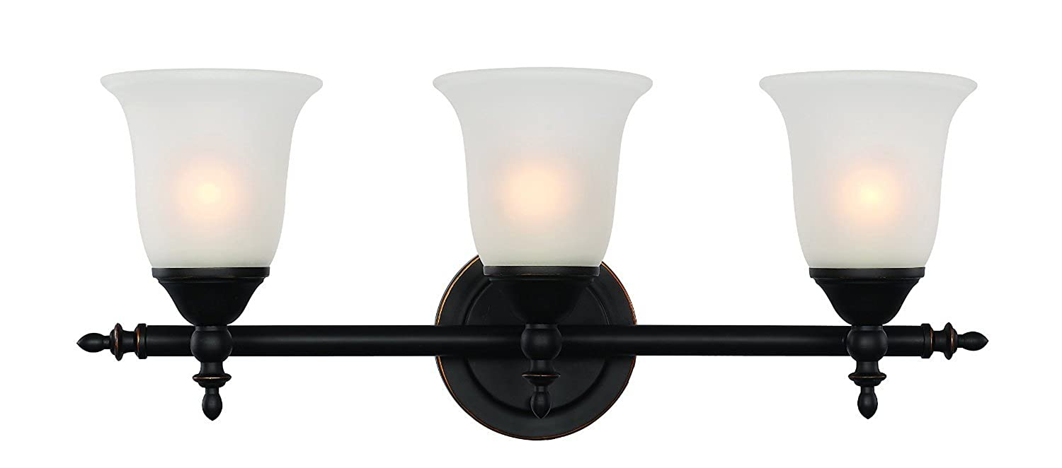 Trans Globe Lighting 20393 ROB Bell Knob Triple Bath Bar, Rubbed Oil Bronze, Rubbed Oil Bronze [並行輸入品]