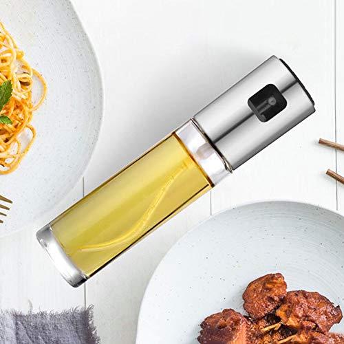 Fuyamp Ölsprüher-Spender, Essig-Sprayer, tragbare Sprühflasche für Küche, Öl, Grill, Salat, Backen, Braten, Rösten, gesunde Ernährung silber