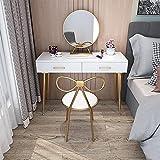 ZGQA-GQA Vanity Desk Stour Rose Rock Studio Rotación Revestimiento Cajones con Silla Conjunto Moderno Gilrs Dormitorio Dormir Maquilladores Mesa (Color : 80cm)