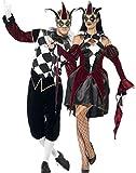 Coppia di costumi coordinati, da uomo e da donna, per travestimento da Arlecchino, giullare, clown in stile gotico/medievale, per Carnevale o Halloween