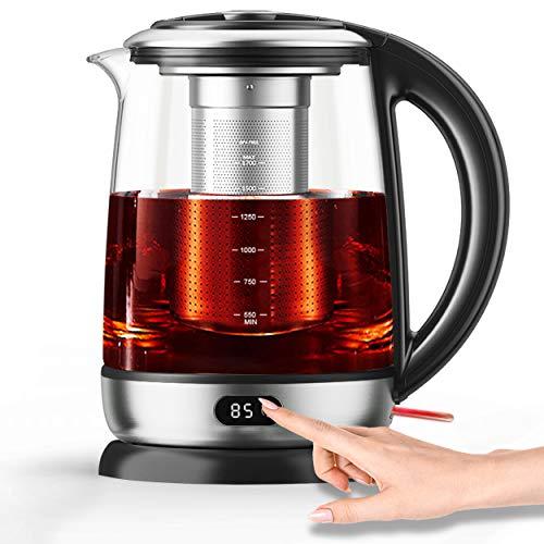 AICOOK Wasserkocher, 1,7 l Glas-Teekessel-Temperaturregelung mit LED-Anzeige und Digitalanzeige, automatische Abschaltung und Trocknungsschutz, 1500 W, BPA-frei