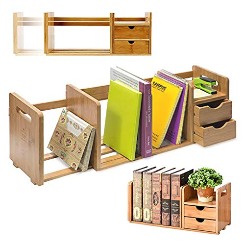IDK Luxury Wooden Bamboo Desk Organizer with Two Drawers Three Expandable Book& File Shelves - Great for Home tabletop, Office Bookshelf, Accessories& Counter tables