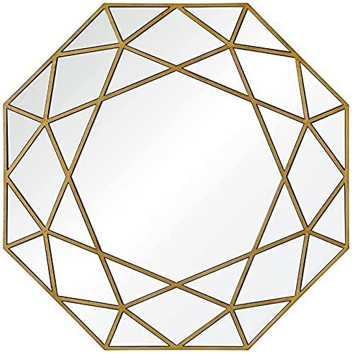 QDY Väggmonterad spegel 70 x 70 cm Stor modern halldekorationsspegel med HD-glas, för öppen spis Badrumsspegeldekoration